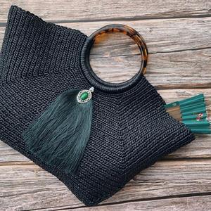 玳瑁 民族风女士钩针手提棉草包