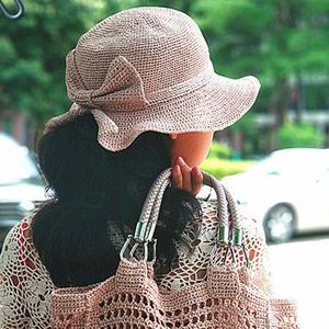蝴蝶結開口鉤針棉草帽
