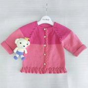 甜美可爱从领口往下织儿童棒针小开衫