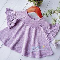 紫蝴蝶 云素麻棉儿童棒针蝶式袖娃娃衫