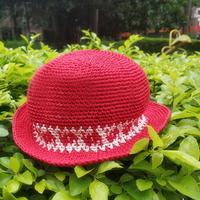 寶寶鉤針提花棉草遮陽帽