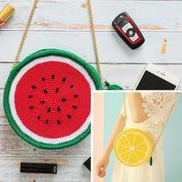 适合春夏季节的网格板钩针西瓜柠檬斜挎包