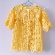 有机棉婴幼儿钩针开衫式礼服裙