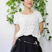 云清女士钩针白色短袖套头衫