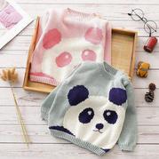 兒童棒針熊貓圖案肩開扣套頭毛衣編織視頻