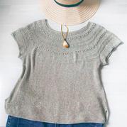 斑斓 云素花染女士棒针圆肩短袖衫