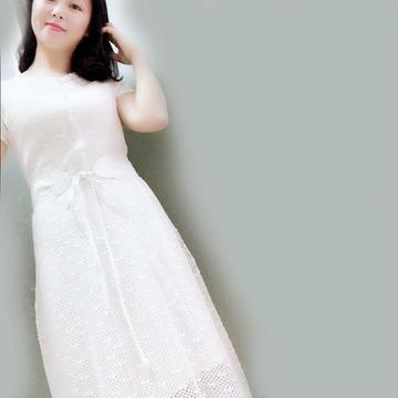 蝶恋之女士钩针蕾丝小白裙