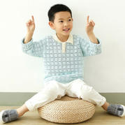 春夏男童鉤針翻領鏤空短袖編織頻教程