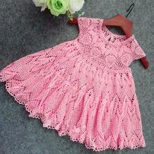 圆舞曲之粉樱 从上往下钩儿童钩针蕾丝公主裙