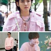 毛線款式選對,男士著粉色毛衣也依然難掩帥氣