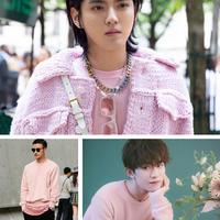 毛线款式选对,男士着粉色毛衣也依然难掩帅气
