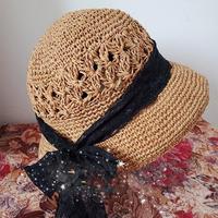 赫本風法式小禮帽 優雅女士棒針棉草鐘形帽