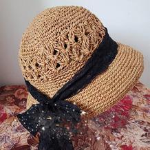 赫本风法式小礼帽 优雅女士棒针棉草钟形帽