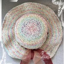不一样的段染夏帽 云清棉草女士棒针遮阳帽