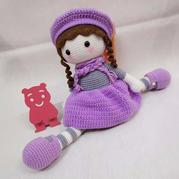 贝雷帽姑娘 5股棉编织钩针娃娃编织图解