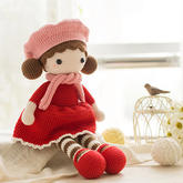 戴贝雷帽的小姑娘(2-1)钩针毛线玩偶编织视频
