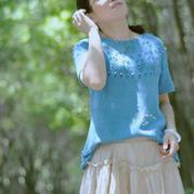 梵花 云清女士棒针圆肩短袖衫