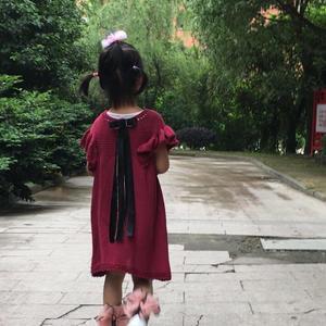 酒紅色絲麻法式兒童棒針小飛袖連衣裙
