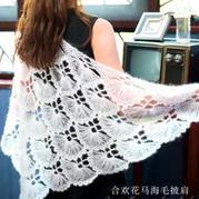 合歡花 女士鉤針馬海毛三角披肩編織視頻