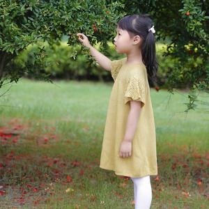 儿童棒针镂空蕾丝插肩短袖连衣裙