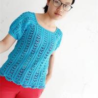 蓝色心情 送母亲的女士钩针灯笼袖罩衫