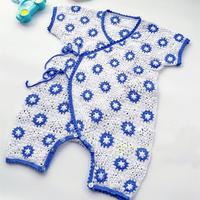 嬰幼兒鉤針祖母方格短袖連體衣