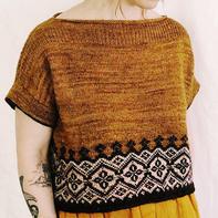 芒夏 女士棒针丝麻提花短袖衫