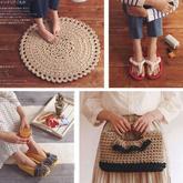 布条线编织居家室内鞋地垫和手包 一至几个小时就可以搞定