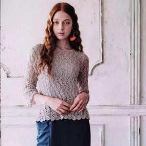 樱粉 毛球新款女士棒针蕾丝镂空花套衫(附简单无痕接线头方法)