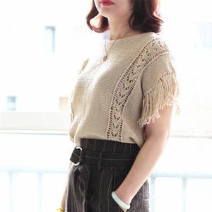 米苏 新手编织也适合的女士棒针直筒流苏袖套衫
