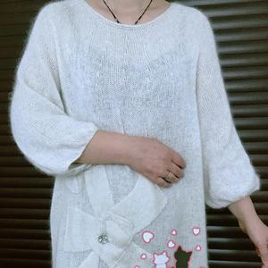 花溪 女士棒針花朵圖案休閑寬松中長款馬海毛衣