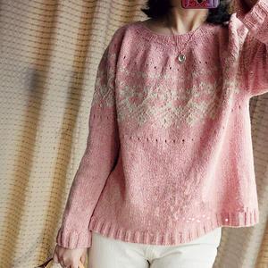 木蔷薇 云点小A版型女士棒针提花套头衫
