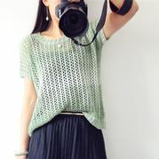 清酒 女士棒针蕾丝镂空花短袖套衫