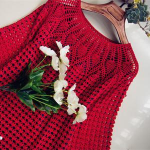红袖添香 女士钩针七分袖直筒蕾丝裙