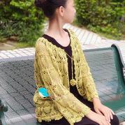 換季必備之云清女士休閑寬松女士鉤針菠蘿開衫
