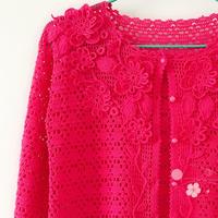 8号蕾丝编织女士花朵装饰钩针蕾丝开衫