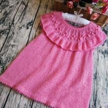 爱丽丝 儿童棒针叶子花荷叶边小裙子