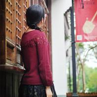 花田错 从上往下织女士棒针扁带棉圆肩毛衣