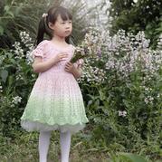雪妃尔渐变段染线钩针儿童公主裙