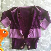 萌芽 紫色宝宝中性开?#20848;?#24320;裆背带裤