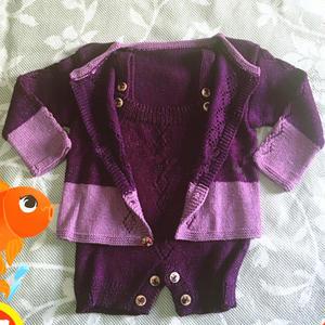 萌芽 紫色宝宝中性开衫及开裆背带裤