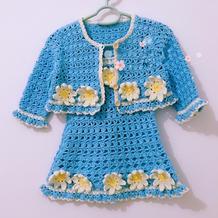 有机棉钩花装饰儿童钩针开衫背带裙套装