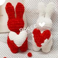 雪尼尔编织萌可爱钩针爱心兔子编织图解