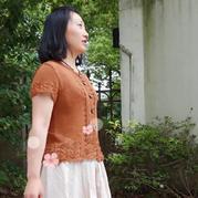 茶葉小衫 云清焦茶色女士棒針短袖開衫