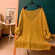 马海的春天 仙气儿十足女士棒针V领马海毛衣