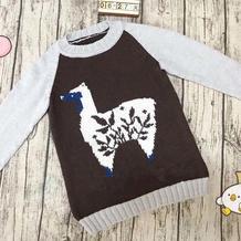 仿外网儿童棒针羊驼提花卡通毛衣