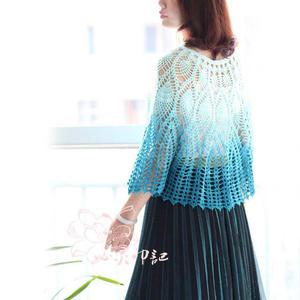 藍羽 長段染編織女士鉤針斗篷式套衫