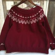 女士棒针酒红色提花套头毛衣