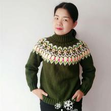 缤纷色彩的女士棒针圆肩提花毛衣