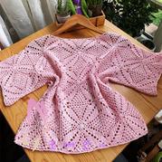 云清粉色女士鉤針方形拼花套衫